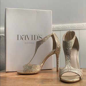 T-Strap Heels with Glitter Fabric